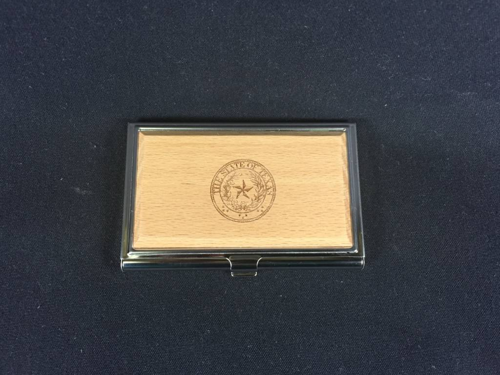 Business Card Holder - Maple & Stainless - Texas State Seal