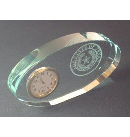 Clock - Jade Glass - Mini Oval - Texas State Seal