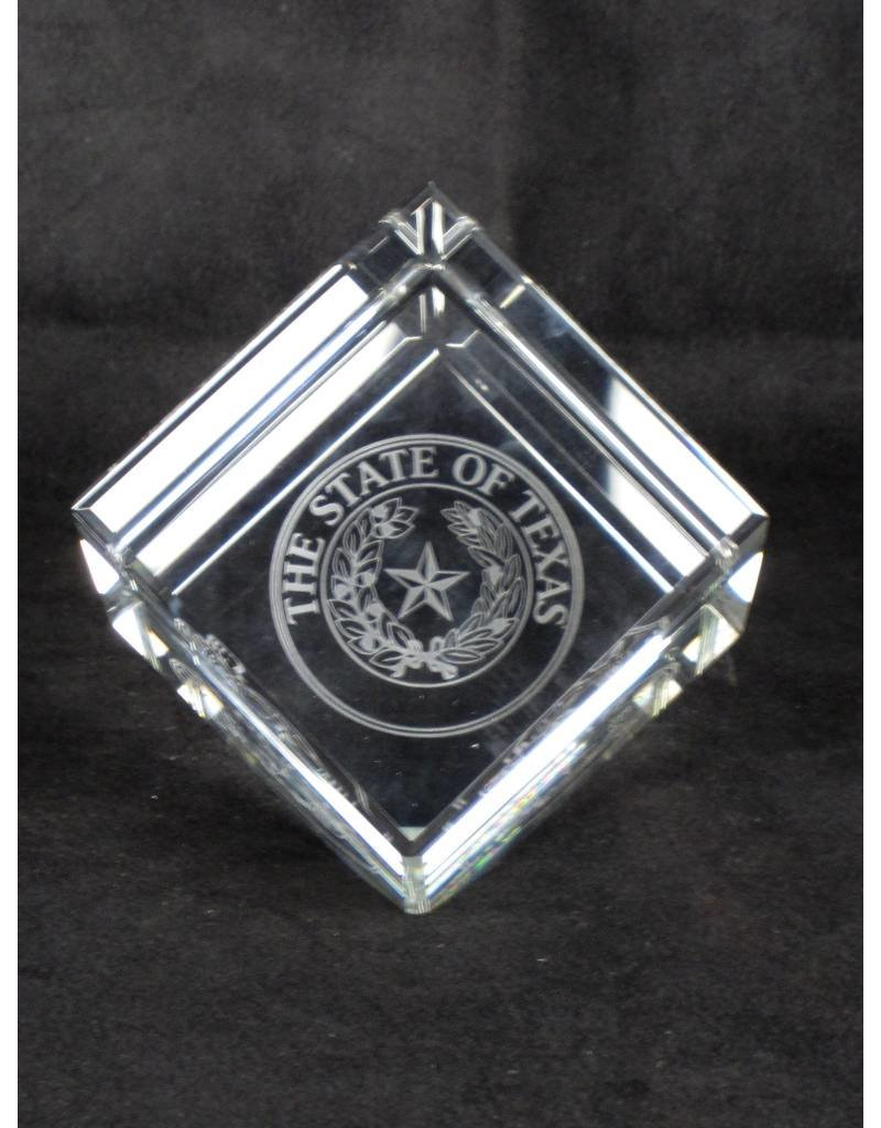 "Crystal Cube - 5"" - Texas State Seal"