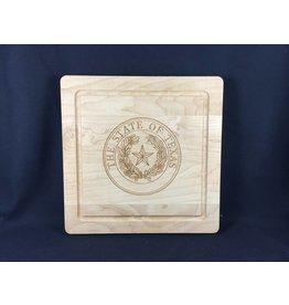 "Texas Cutting Board - Texas State Seal - 12""x12"" - no handles"