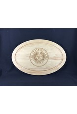 "Texas Cutting Board - Texas State Seal - 12""x18"" oval"