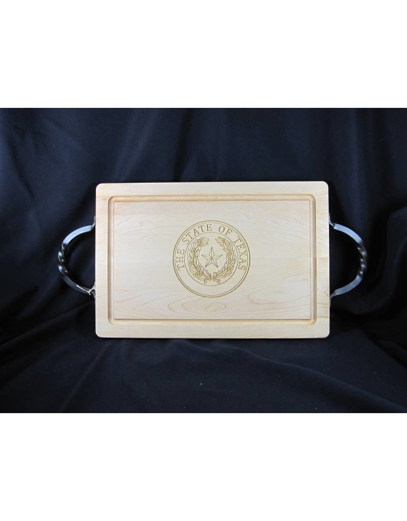 "Texas Cutting Board - Texas State Seal - 12""x18"" rectangle with handles"