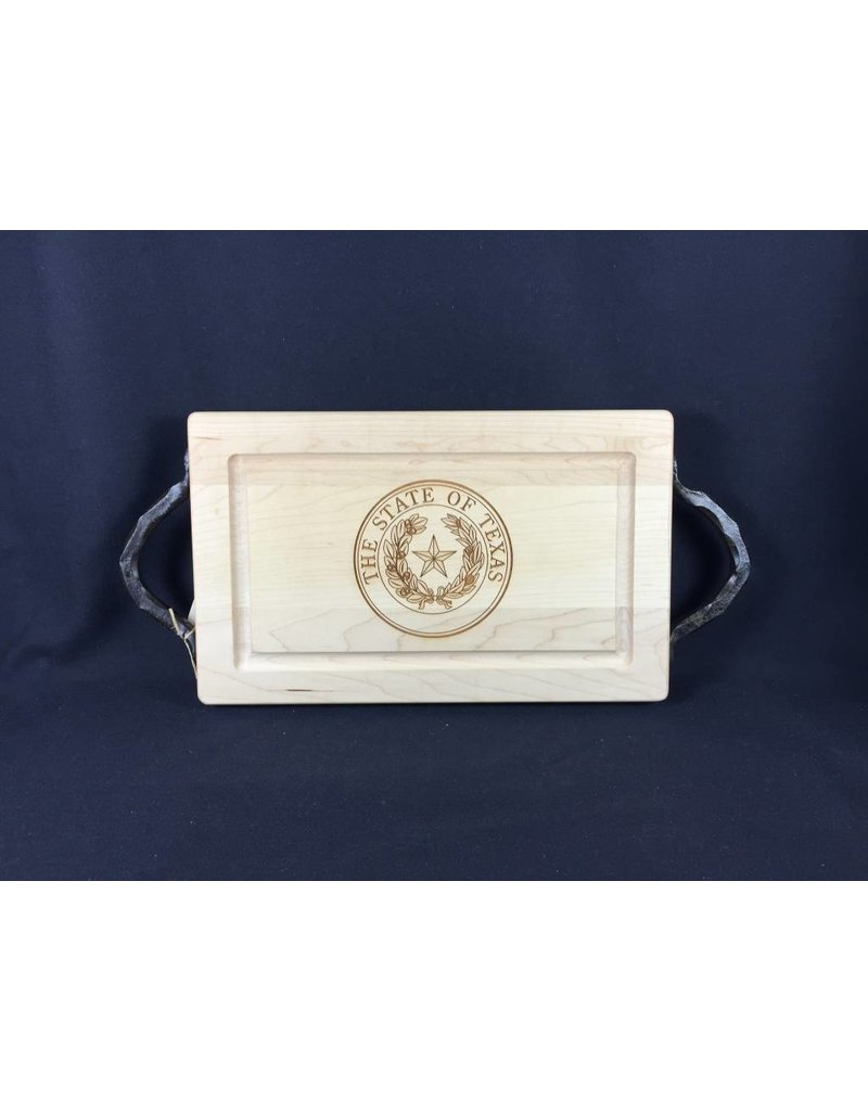 "Texas Cutting Board - Texas State Seal - 13""x8"" handles"