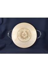 "Texas Cutting Board - Texas State Seal - 16"" server w/ handles"
