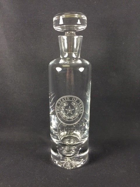 """Texas Decanter w/ Texas State Seal - Cylinder 11"""""""