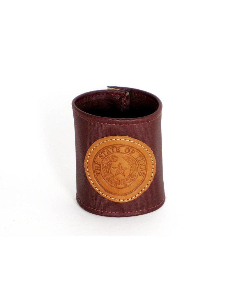 Drink Koozie - Maroon - Texas State Seal