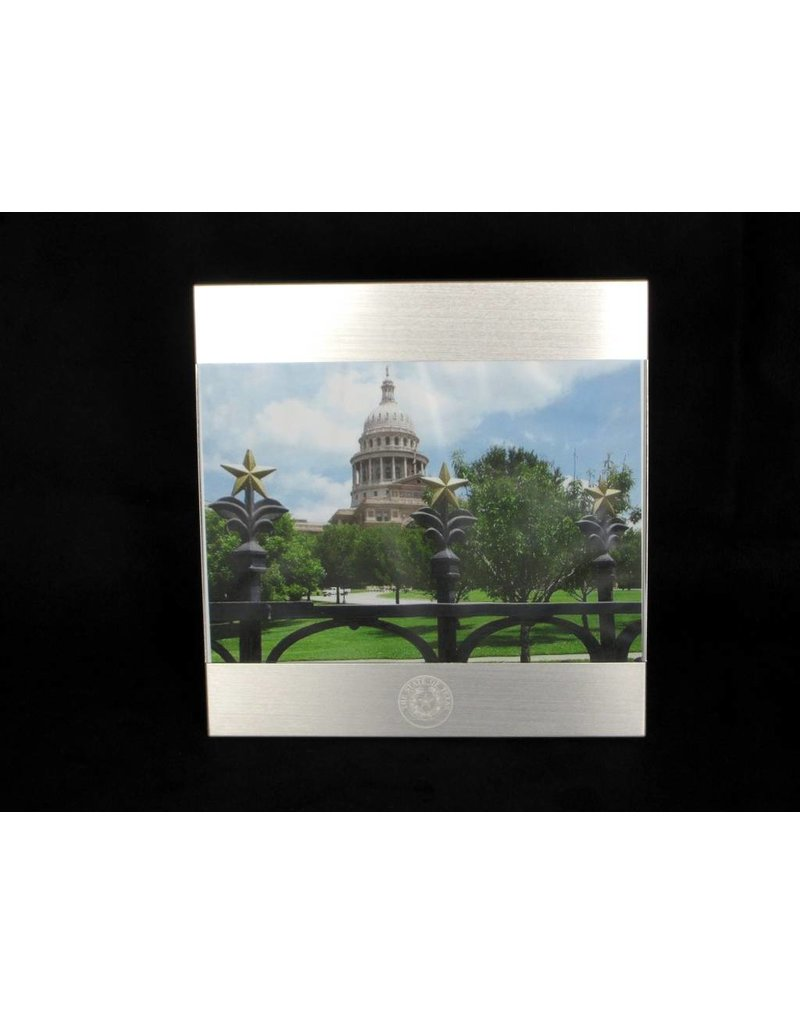 Frame - 5 x 7 Brushed Metal - Texas State Seal
