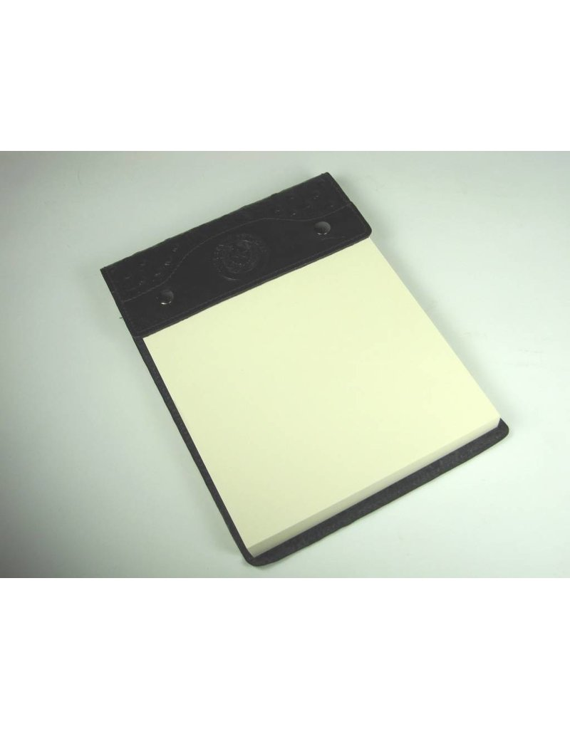 Leather Note Pad - Large - Blk Ostrich - Texas State Seal