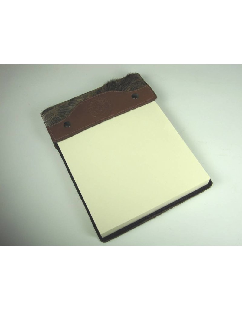 Leather Note Pad - Large - Brindle Hide on Hair - Texas State Seal