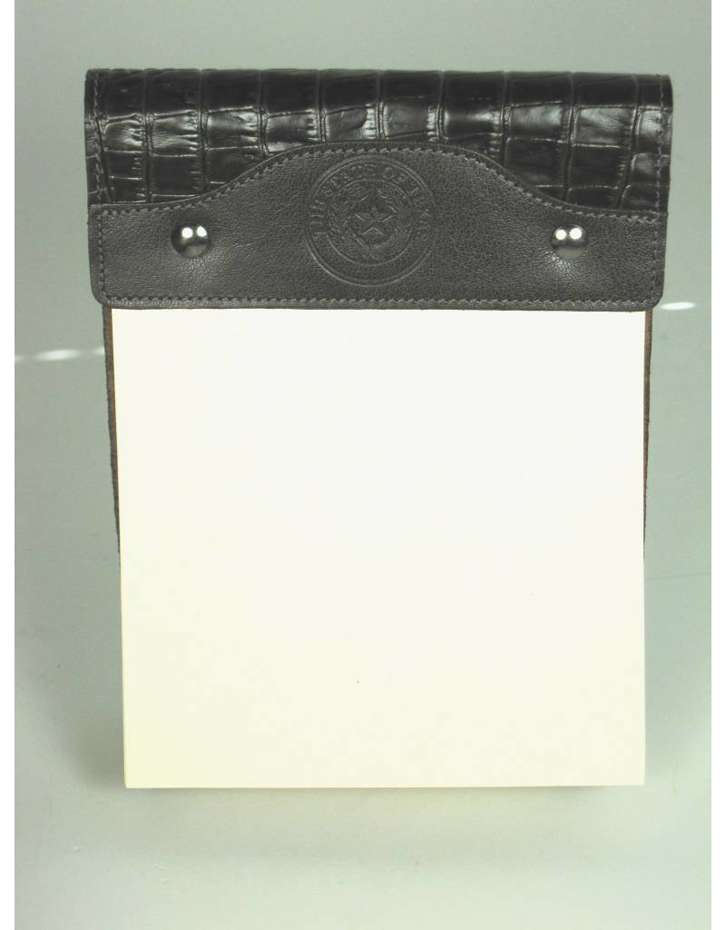 Leather Note Pad - Large - Brown Croc - Texas State Seal