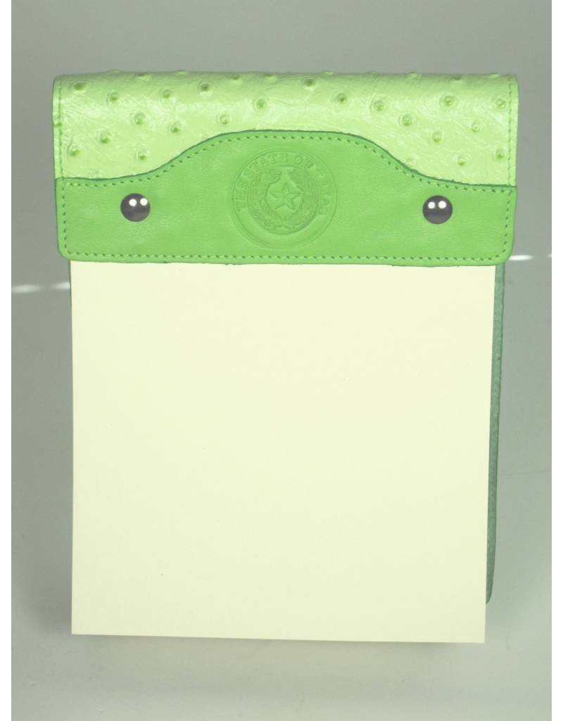Leather Note Pad - Large - Lime Ostrich - Texas State Seal