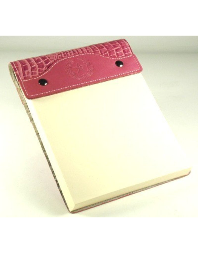 Leather Note Pad - Large - Pink Croc - Texas State Seal