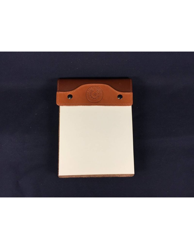 Leather Note Pad - Large - Tan Calf Tan Bridle - Texas State Seal