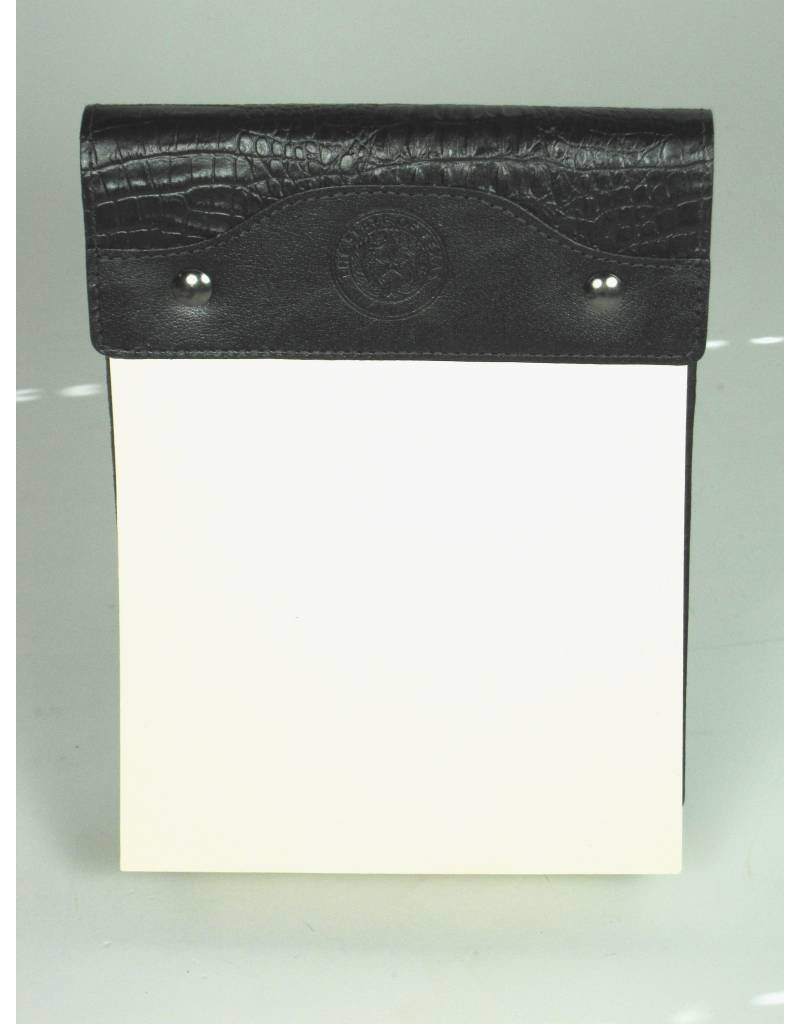 Large Leather Notepad / Black Croc / Texas State Seal
