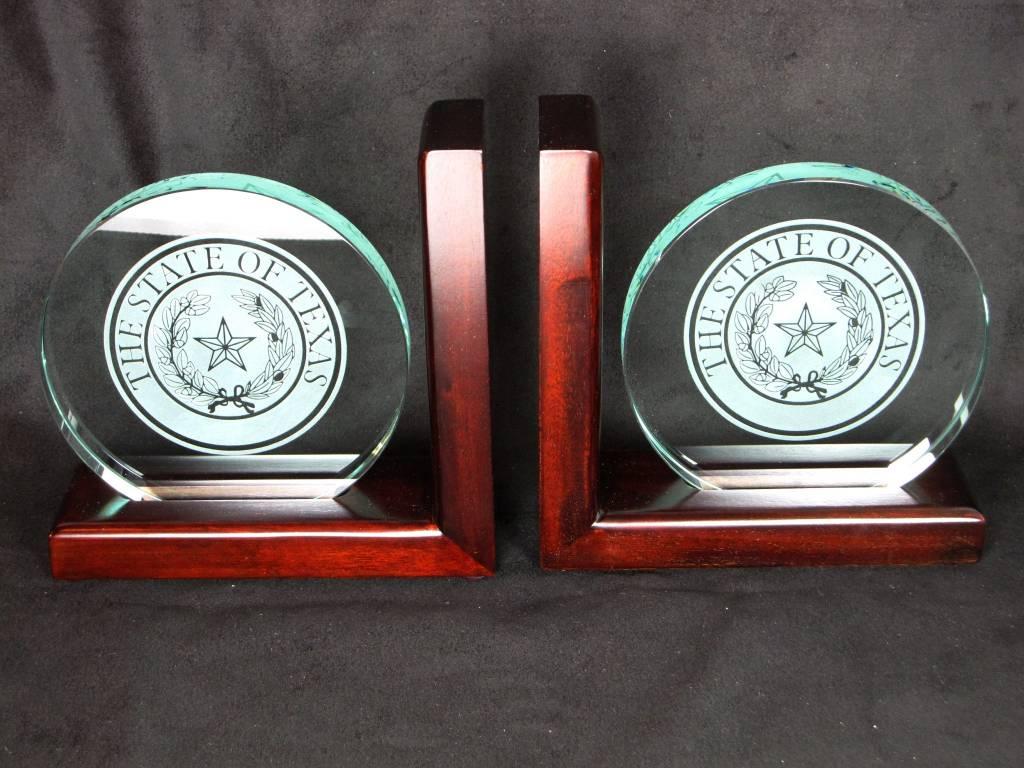 Bookends - Jade Glass, Mahog - LRG - Texas State Seal