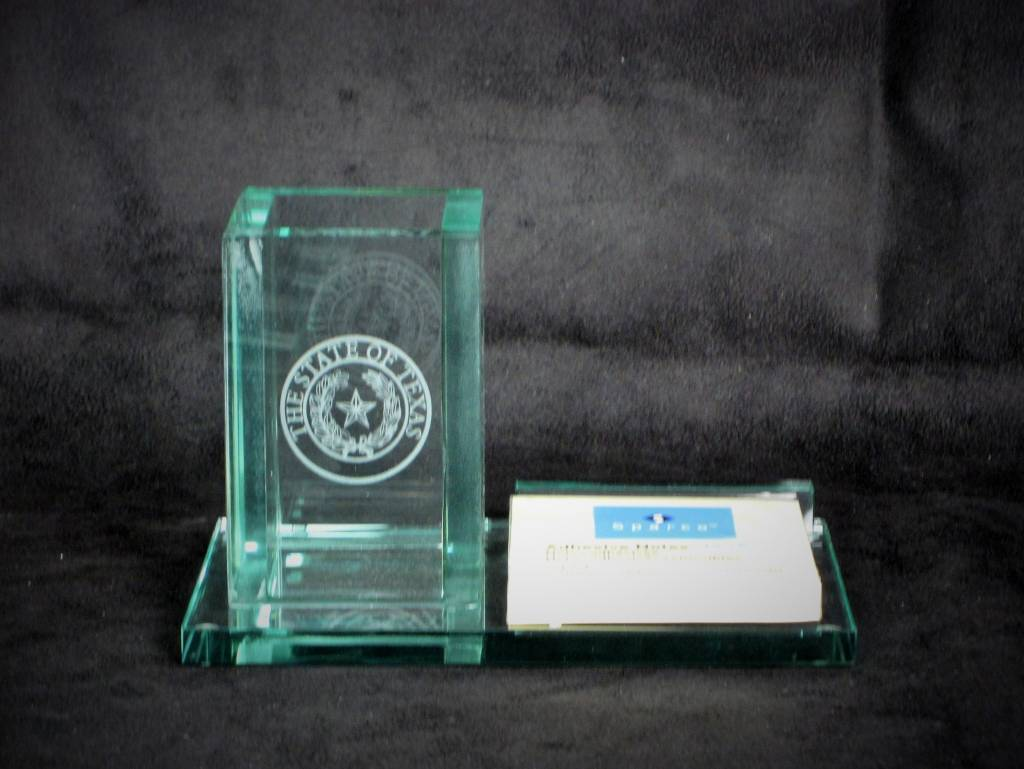 Post-It Pen Holder - Jade Glass - Texas State Seal