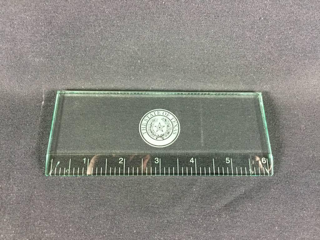 "Ruler - Jade Glass 6"" - Texas State Seal"