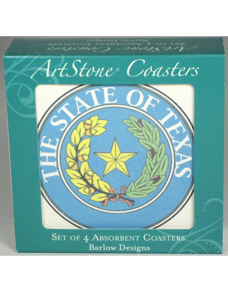 Sandstone Coasters - set of 4 - Texas State Seal