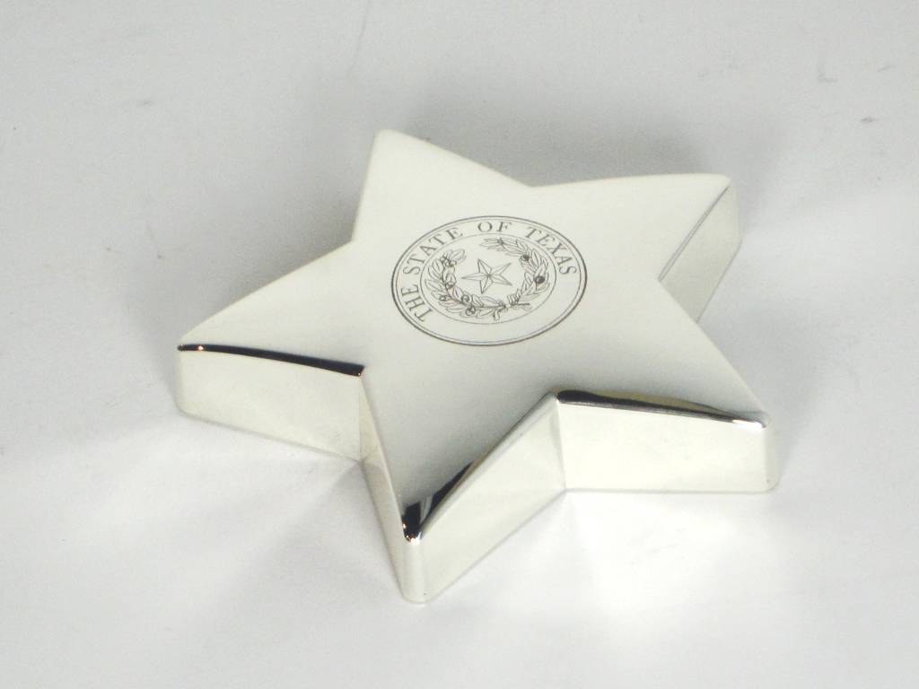 Silver Plate Star Paperweight - State Seal