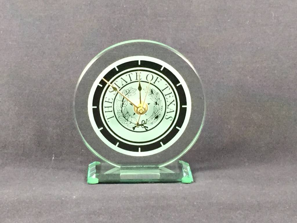 Clock - Small Round - Jade Glass - Texas State Seal