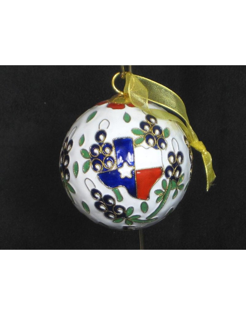 Ornament - Texas Outline & Bluebonnet Round