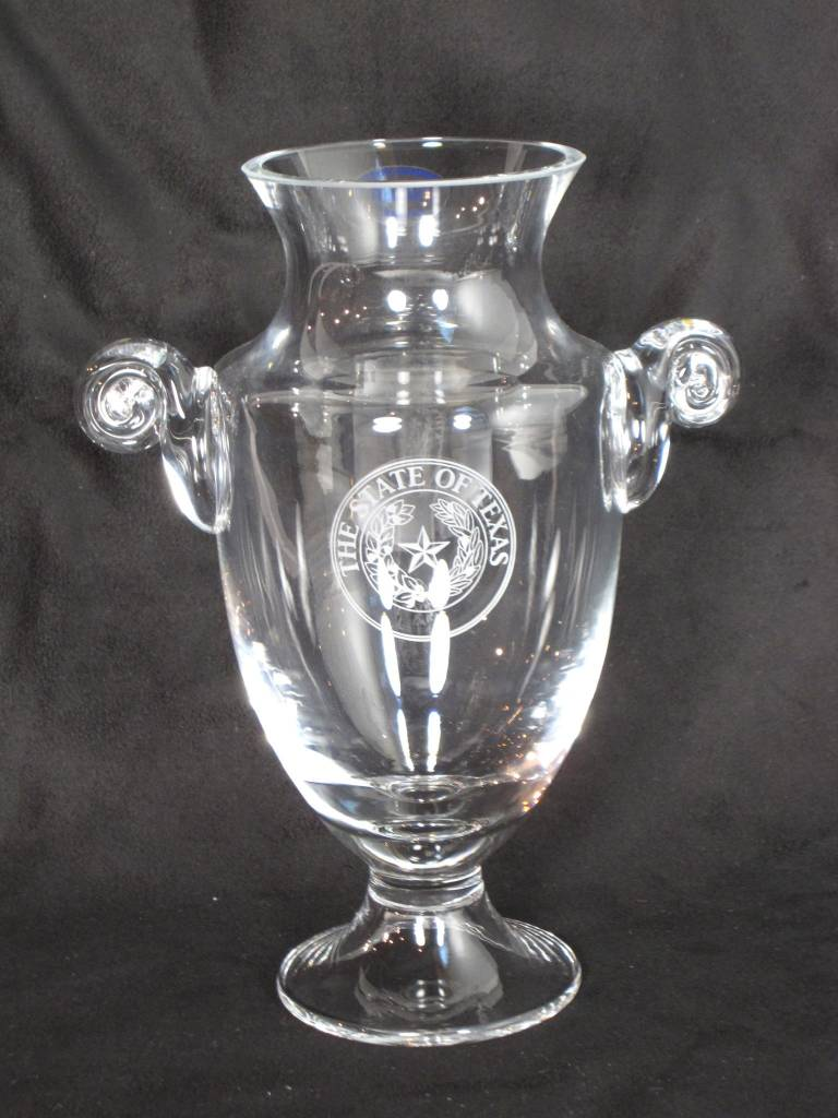"""Trophy Vase - 10"""" Champion - Texas State Seal"""