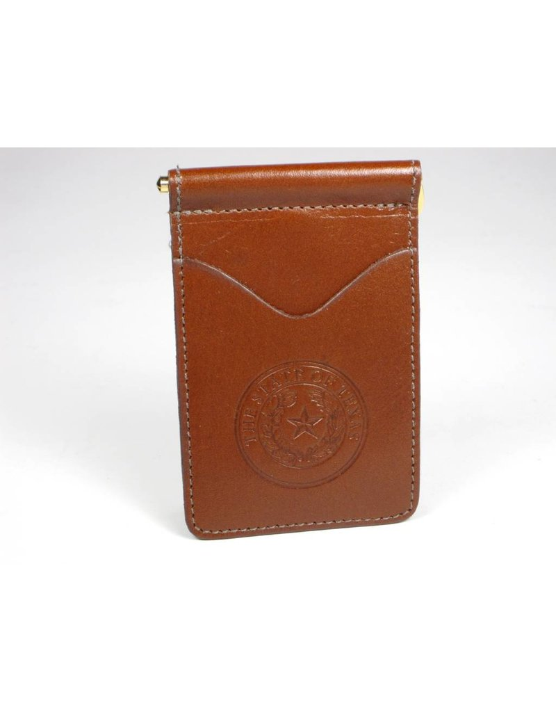 Wallet - Brown Calf - Texas State Seal (Spring clip)