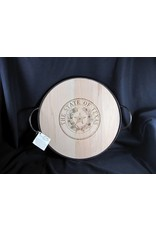 "Texas Cutting Board - Texas State Seal - 18"" Round Heavy Banded tray w/ handles"