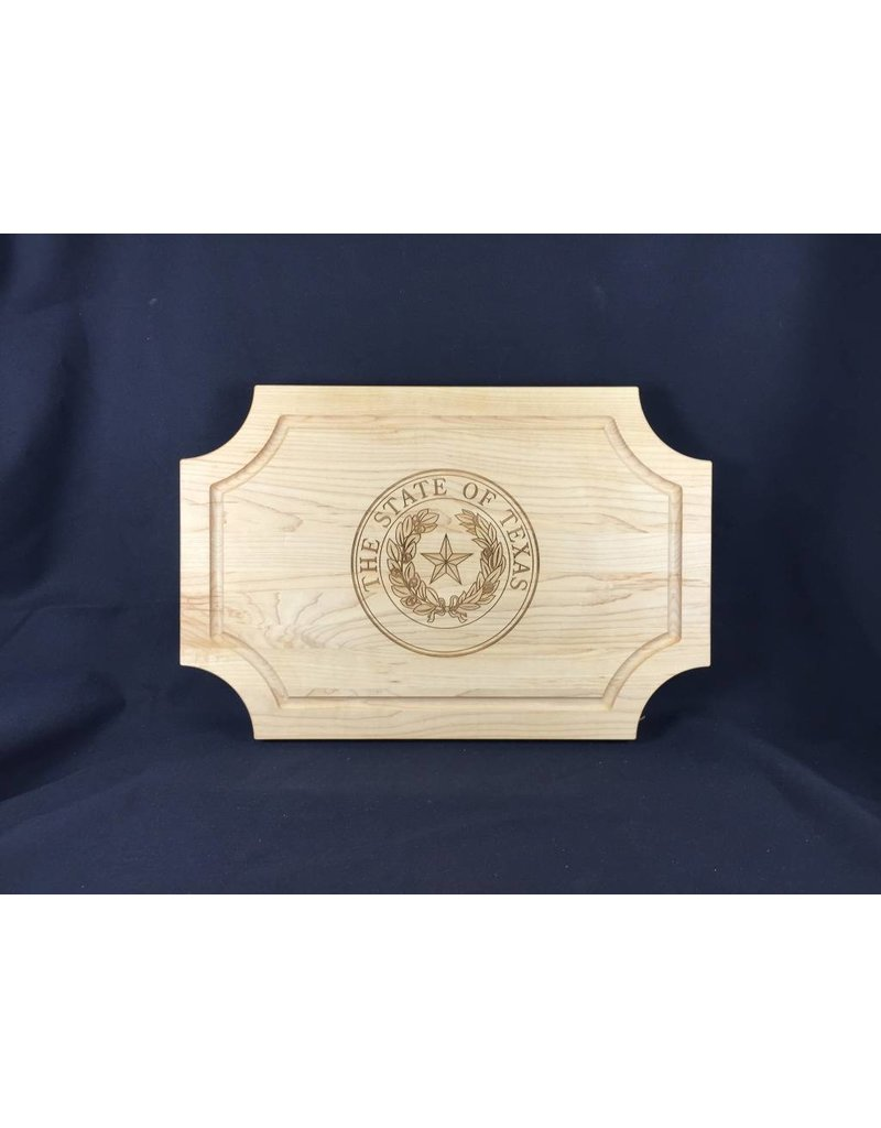"Texas Cutting Board - Texas State Seal - 18""x12"" Scalloped no handle"