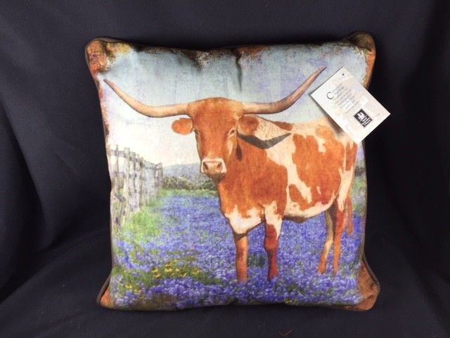 Texas Pillow - Longhorn with Bluebonnets
