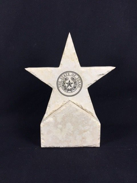 5 inch Limestone Star on Base w/ Texas State Seal