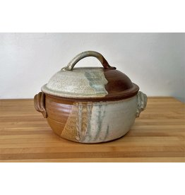 Jeanne Demers Pottery Covered Casserole (37) Rust & Tans