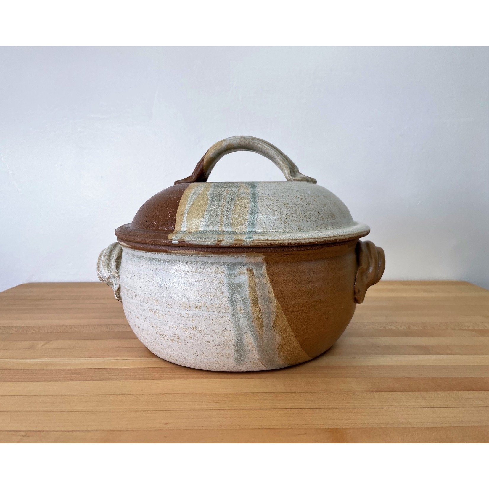 Jeanne Demers Pottery Covered Casserole- Rust & Tans