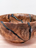"Ronald Bemmann 7.75"" Spalted Birch & Epoxy (Blue) Bowl"