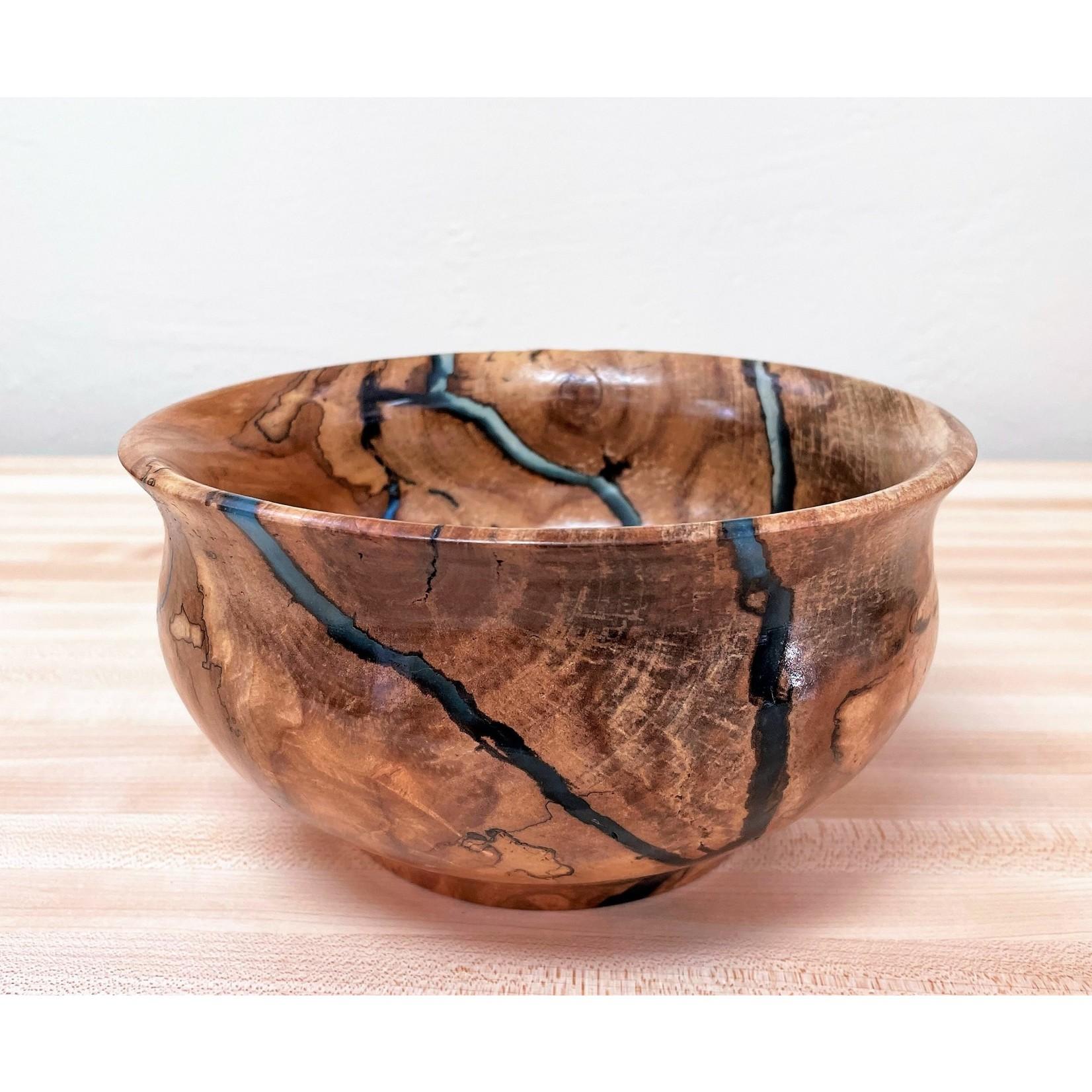 """Ronald Bemmann 7.75"""" Spalted Birch & Epoxy (Blue) Bowl"""