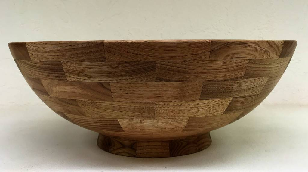 "Ronald Bemmann 14"" Butter Nut Segmented Hand Turned Bowl"