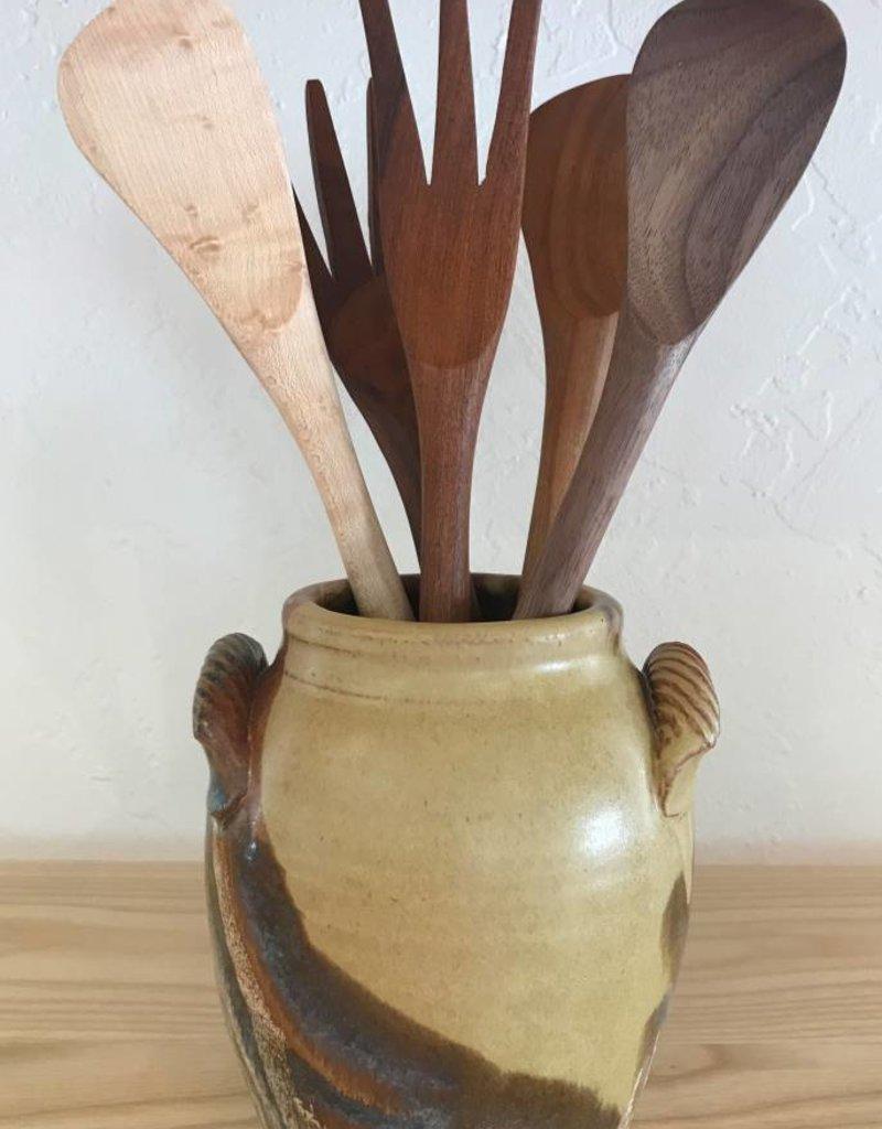 Jeanne Demers Pottery Jeanne Demers Pottery Varigated Rope Handled Jar