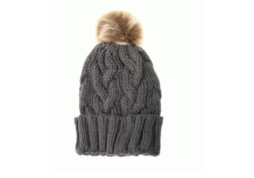 Joy Susan Joy Susan Cable Knit Pom Pom Hat