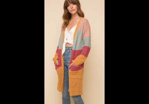 Hem & Thread Hem & Thread Long Color Block Cardigan
