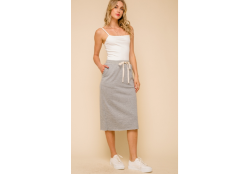 Hem & Thread Hem & Thread Simple Midi Sweater Skirt Slit