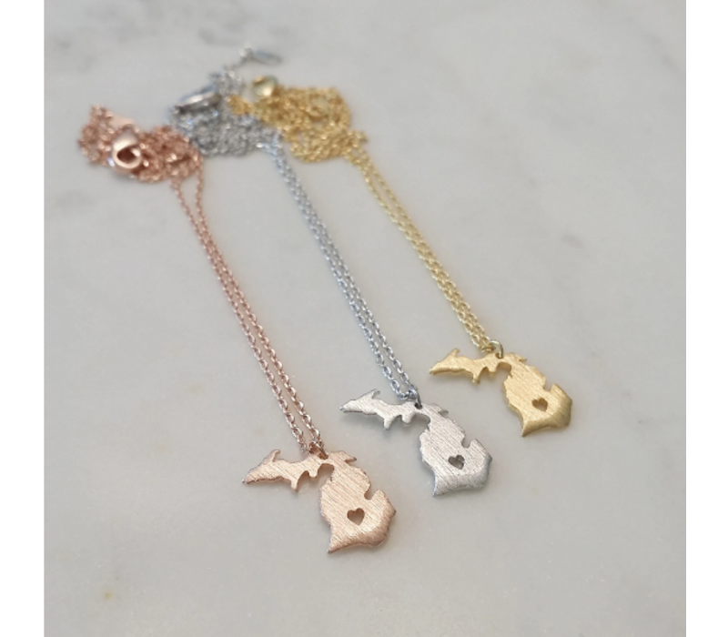 Must Have Michigan Heart Necklace