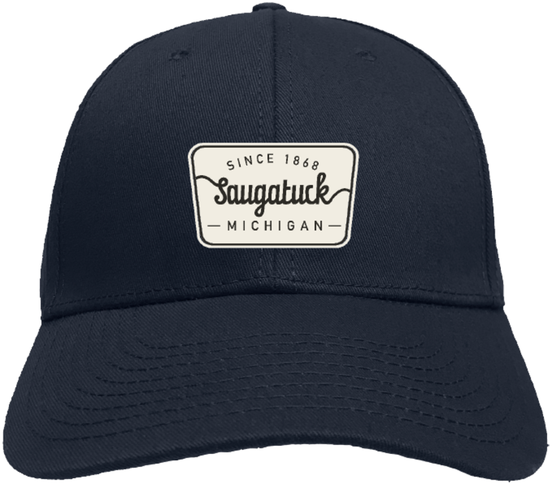 Techstyles Saugatuck Since 1868 Patch Trucker Hat, Navy
