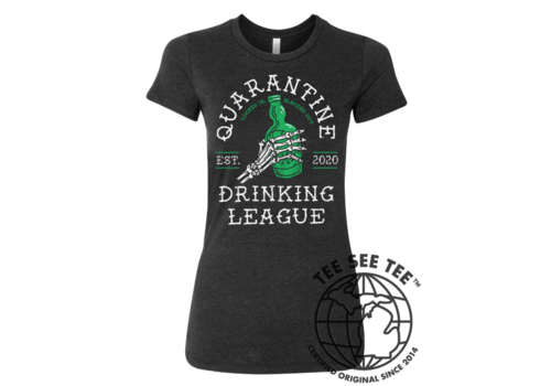 Tee See Tee Quarantine Drinking Team Women's Tee- Locked In : Blacked Out
