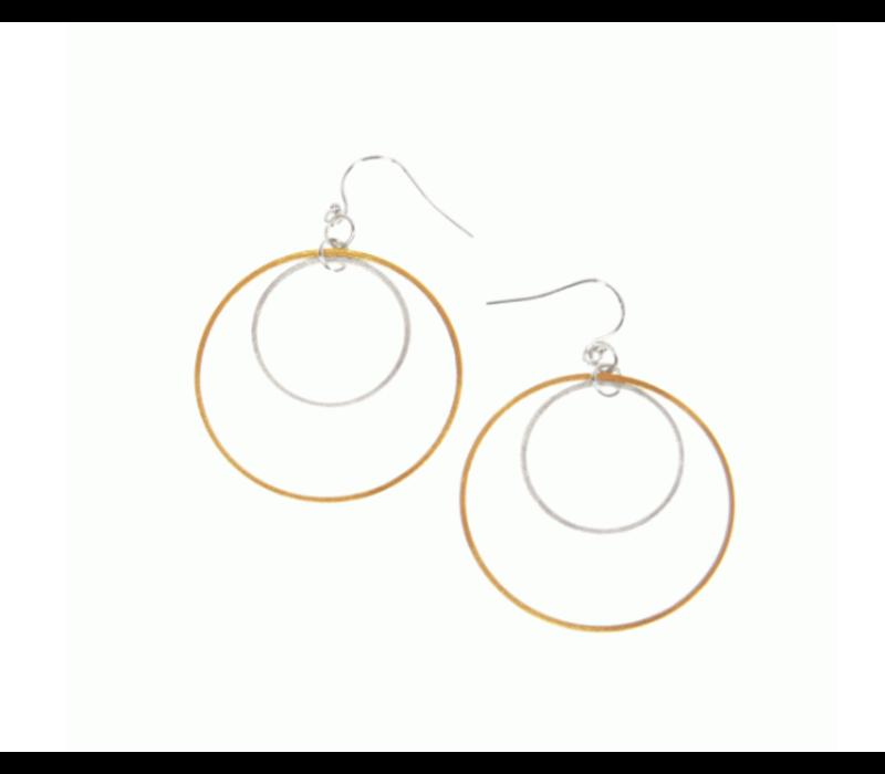 Joy Susan Scratched Gold Double Hoop Earring