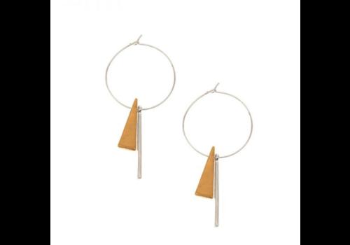 Joy Susan Joy Susan Worn Silver Geometric Charm Hoop Earrings