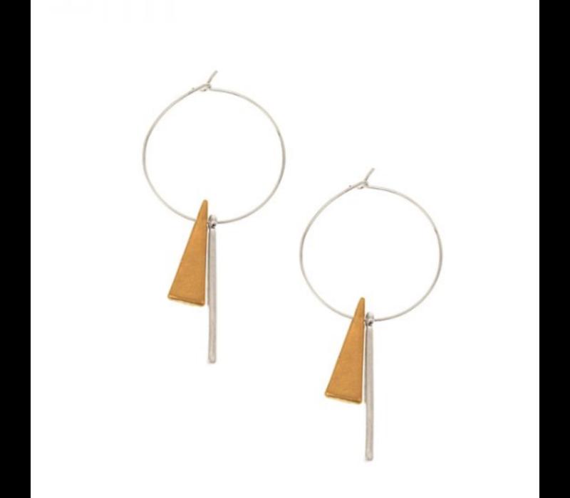 Joy Susan Worn Silver Geometric Charm Hoop Earrings