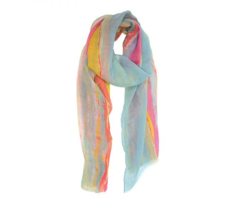 Joy Susan 90x180 Turquoise Sunset Stripe Scarf