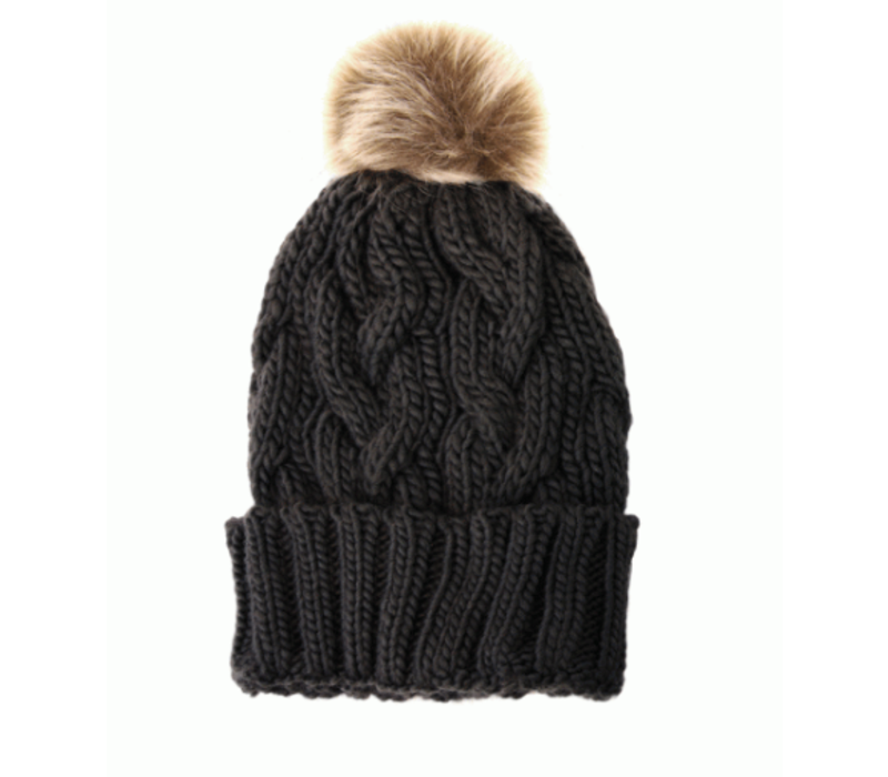 Joy Susan Cable Knit Pom Pom Hat