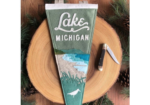 Yoho & Co Yoho & Co Felt Pennant Lake Michigan