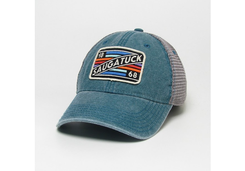 League League Legacy Trucker Hat with Rectangle Striped Saugatuck 1868 Patch, Marine Blue/Grey